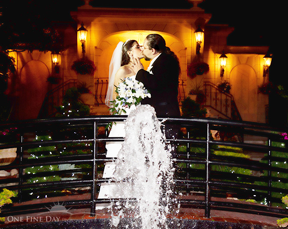 A kiss beneath the stars - photographed by award-winning wedding photographer, Howard Fritz, of OneFineDayPhotographers.com.